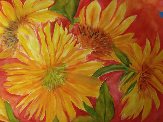 Big Sunflowers 22 x 30 painting Large Original Watercolor -  Yellow Sunflowers on Red, Home Decor, Wall art