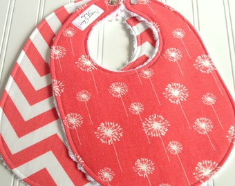 Baby Bibs for Baby Girl  - Set of 2 Triple Layer Chenille  - Coral Dandelions & Coral Chevron