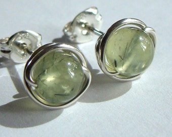 Prehnite Studs 6mm or 8mm Prehnite Earrings in Sterling Silver Post Earrings Prehnite Studs