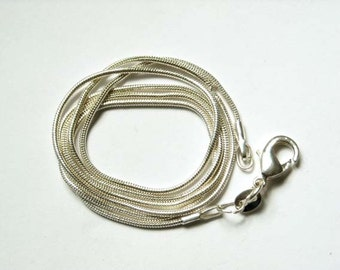 24 Inch 1mm Silver Plated Snake Chain