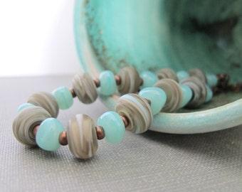 Glass Necklace, Copper Necklace, Celadon Blue, Mushroom Beige, Seafoam Mushroom, Lampwork Glass, Copper Chain, Copper Jewelry,