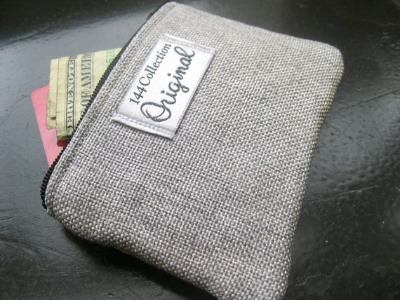 Change Purse - Silver Linen Shimmer Small Zipper Pouch, Change Purse