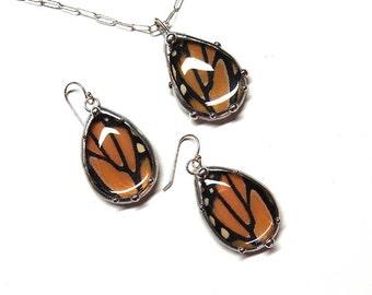 Teardrop Earring and Pendant Set -- Real Monarch Butterfly