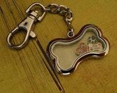 KEYCHAIN - DOG BONE - large glass floating locket - DiY - quantity 1 - similar to Origami Owl