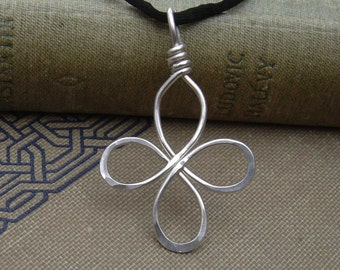 Celtic Cross Pendant, Sterling Silver Wire Four Leaf Clover Neclace, Loopy Bliss Cross Necklace, Celtic Knot Jewelry, Irish Christmas Gift
