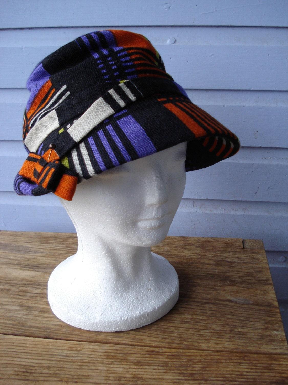 Vintage 1960s Yves Saint Laurent Mondrian Hat Ysl Plaid Hat