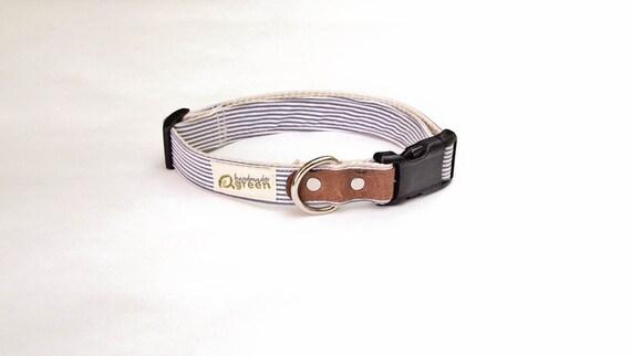 SALE. Gray Stripe Dog Collar. Adjustable Size LARGE. Hemp Dog Collar. Eco-Friendly design.