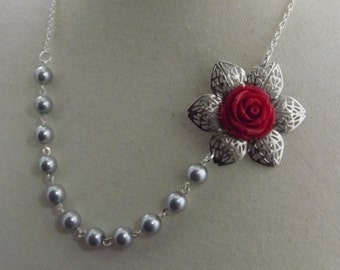 Red and Gray Silver Flower Bridesmaids Wedding Necklace