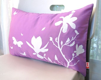 Limited Time Sale Lavender Purple Magnolia and Butterflies Rectangle Pillow