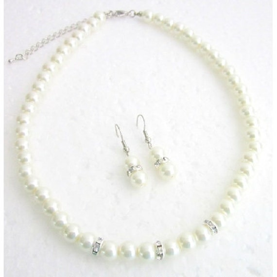 Bridal Jewelry Matron of Honor Ivory Pearls With Diamond Like Spacer Free Shpping In USA