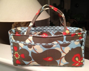Scrapbooking Caddy | Sewing Tote | Diaper Tote | Amy Butler Lotus Morning Glory Full Moon Dot