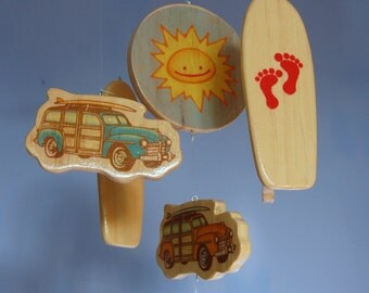 Baby Mobile Surfboards - Woody Surf Boards and Cars - Surf or Beach Baby Nursery