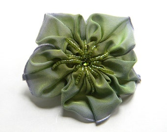 periwinkle grey and lime flower brooch