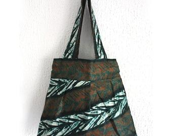Batik Tote Bag, Beach tote, Cotton tote bag, Green Leaves Adire, Festival Accessory, green bag, Bag for life, African tote bag, Adire bag