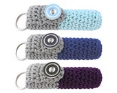 Lip Balm Holders, size B (W-LHB-089 090 091), set of 3, chapstick cozies, lip balm cases, chapstick keychains, cute keychains
