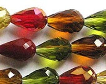 Gorgeous Autumn Leaves Faceted Designer Glass Crystal Teardrop Beads 12x8mm 16 pcs