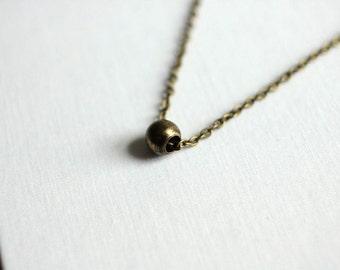 Brass Bead Necklace // Simple Minimalist Necklace // Unisex Men Women