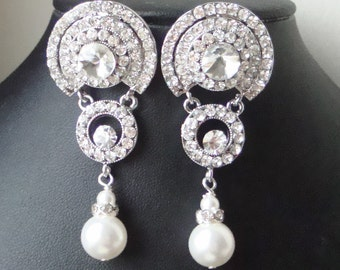 Art Deco Style Bridal Earrings, Vintage Style Statement Wedding Earrings, Long Pearl Chandelier Earrings, Elsa