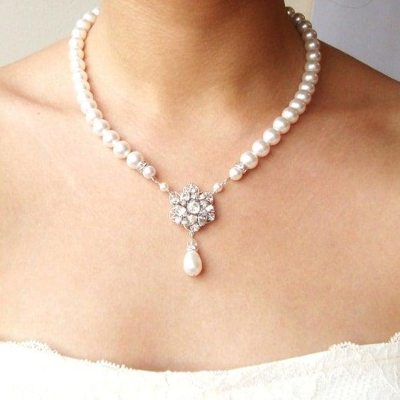 Bridal Necklace, Pearl Wedding Jewelry, Vintage Bridal Jewelry, Art Deco Vintage Wedding Necklace, Crystal Flower Necklace, CELINE