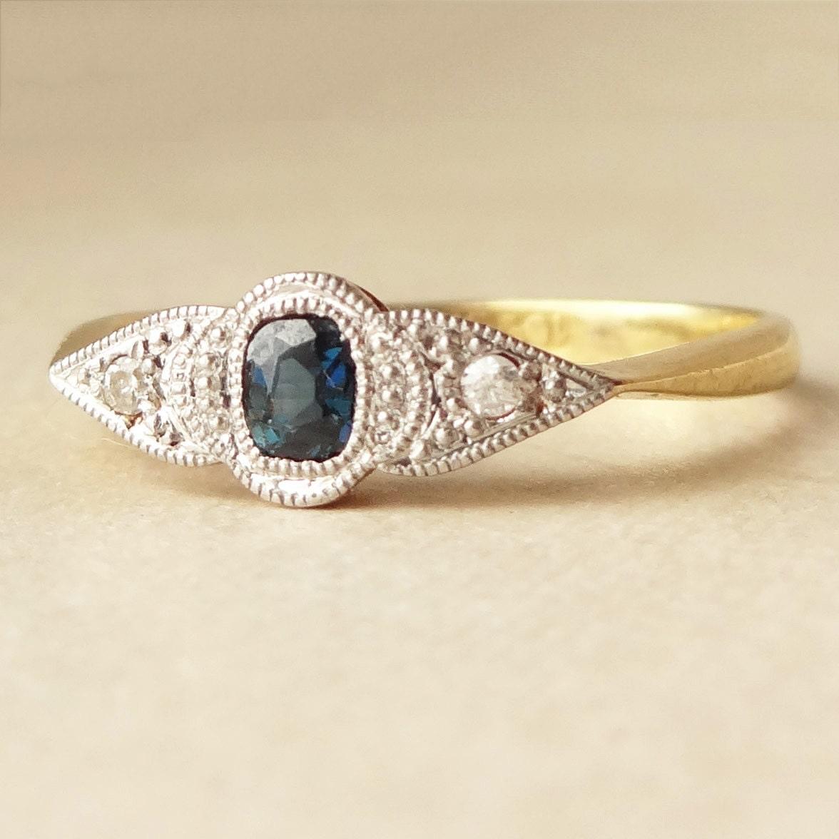 Art Deco Sapphire & Diamond Engagement Ring Antique Sapphire