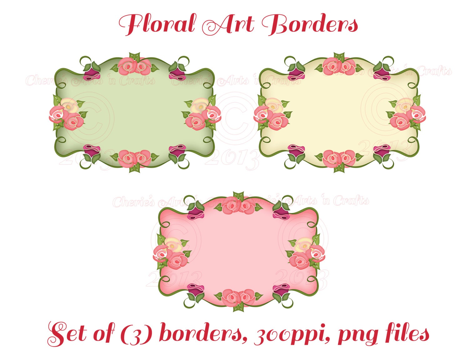Instant Download Roses Borders Labels Floral by CheriesArtsnCrafts
