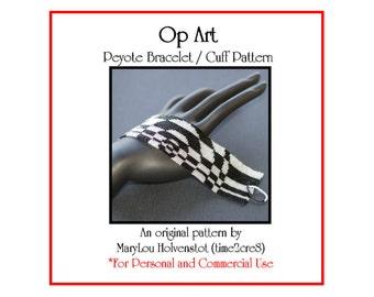 Peyote Pattern ... OP ART ... Bracelet Pattern . Modern . Optical Illusion . Geometric . Circles . Concentric . Bold . Pop Art . 3 for 2