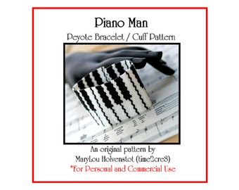 Peyote Pattern ... PIANO MAN ... Bracelet Pattern . Music . Black and White . Pianist . Musician . Keys . Music Gift . 3 for 2 . Beadweaving