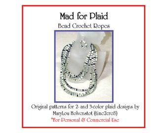 Bead Crochet Pattern ... MAD for PLAID ... Classic Design . Two Colors . Three Colors . PDF . Personal . Commercial