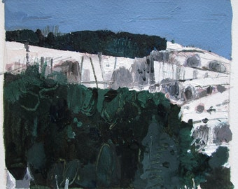 Tommy's Hill, Original Landscape Painting on Paper, Stooshinoff