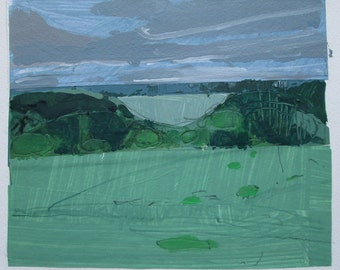 June Field, Original Landscape Collage Painting on Paper, Stooshinoff