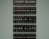 Brooklyn Art- Your Hoods on Wood- Neutral Big Five Art Block Signs- New York City Art- City Word Art- Brooklyn Gifts for Guys and Gals