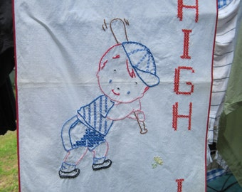 Embroidered Piece/Vintage Wall Hanging for Childs Room