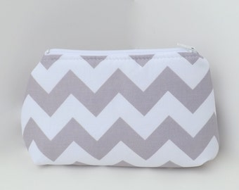 Cosmetic Pouch, Make Up Bag, Carry All, Zippered Clutch - Grey and White Chevron
