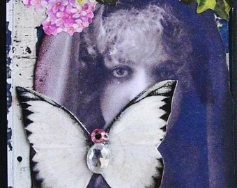 SOLITUDE altered art inspirational collage survivor tears grief healing butterfly therapy AcEO AtC PRiNT