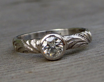 Delicate Moissanite and 950 Palladium Engagement or Wedding Ring - Eco-Friendly Diamond Alternative - Made To Order