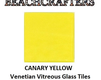 100 - 3/8 inch CANARY YELLOW  Venetian Vitreous Glass Mosaic Tiles