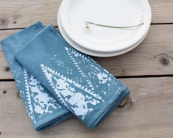 pair of slate blue dinner napkins