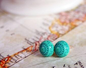 Scandinavian post earrings- tribal pattern- mint teal green -aztec summer- vintage