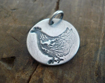 Mother Hen Pendant- Handmade. Oxidized Fine Silver. Design Your Own Series