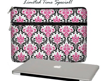 "SALE Laptop Sleeve for 13"" MacBook Pro Retina Display Laptop Case Zipper Pocket Padded Woman's Laptop Sleeve Damask Pink Black RTS"