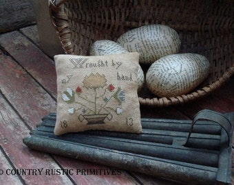 Primitive Wrought By My Hand Basket Of Flowers Pillow Tuck Cross Stitch E Pattern PDF