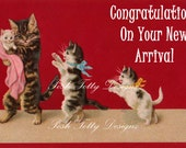 1904 Victorian Kittens Congratulations On Your New Arrival Vintage Postcard Digital Download Printable Images (PC5)