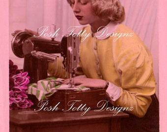 1920s Art Deco Lady at the Sewing Machine Vintage Postcard Digital Download Printable Image (PC42)