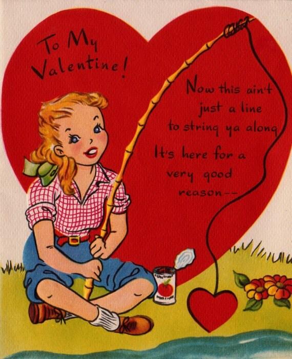 Vintage ToMy Valentine Fishing Greetings Card B7