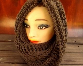 Joan Brown Crochet Hooded Cowl Scarf,  Hooded Scarf,  Crochet Scarf,  Crochet Infinity Scarf,  Brown Scarf