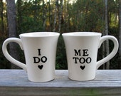 Set of I do Me Too mugs kiln fired art pottery