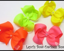 Neon Collection, Boutique Hair Bows, small, medium, large, extra large bows, birthday girl, toddler girl, international shipping