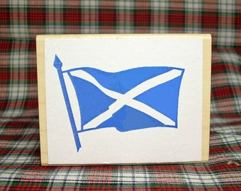 Scottish Flag Rubber Stamp St Andrews Saltire Blue #308