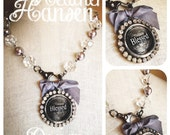 Crystal and gray Pearl chain with Large clasp and Blessed Rhinestone pendant