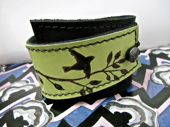 Leather Cuff Wrap Bracelet, Bird on a Wire in Black & Chartreuse Green- SALE - see Listing for Coupon Codes...